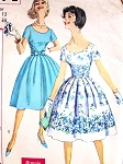 1960 Lovely Day or Party Cocktail Dress Pattern Simplicity 3474 Low Scoop Neckline Fitted Bodice, Full skirt 2 Style Versions Bust 33 Simple To Make Vintage Sewing Pattern