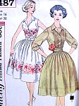 1960s Feminine Shirtwaist Dress and Cummerbund Pattern Simplicity 3487 Lovely Soft Pleated Full Skirt  Bust 32 Vintage Sewing Pattern