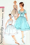 Early 1960s Bombshell Dress and Head Scarf Pattern Gina Lollobrigida Style fitted Bodice Deep Scoop Neck Option Full Gathered Skirt Simplicity 3918 Vintage Sewing Pattern Bust 34