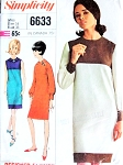 1960s Mod Mondrian Color Block Shift Dress Pattern Simplicity 6633 YSL Slim Dress Round Neckline or Peter Pan Collar VersionDesigner Fashion Vintage Sewing Pattern Bust 36