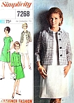 1960s Mod Princess a Line Dress and Jacket Pattern Simplicity Designer Fashion 7268 Vintage Sewing Pattern Bust 35