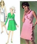 1960s Seductive Wrap Dress Pattern Simplicity 7715 Close Fitting V Neckline Day or Evening Kittenish Ruffled Edge Style Three Versions Designer Fashion Vintage Sewing Pattern Bust 34 or 36