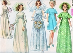 1960s Lovely empire Wedding Dress Bridal Gown Pattern Simplicity 8144 Includes Bridesmaid Dress Romantic Styles Vintage Sewing Pattern FACTORY FOLDED