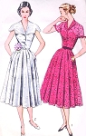 1950s Lovely Day or Party Dress Pattern SIMPLICITY 8407 Large Shaped Cape or Rolled Collar Flattering Design Bust 30 Vintage Sewing Pattern