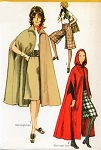 1970s Hooded Cape Regular or Maxi Lengths and Gaucho Culottes Pants Simplicity 9249 Bust 36 Vintage Sewing Pattern UNCUT