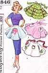 1950s Lovely ONE YARD Apron Pattern Simplicity 1846 Four Hostess Half Aprons Includes Christmas Valentine Transfers  One Size Vintage Sewing Pattern