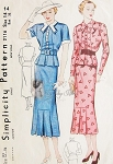 1930s Stylish 2 Pc Dress Pattern Simplicity 2116 Vintage Sewing Pattern Front Pleat Inset Slim Skirt, Shaped Collar, Box Pleated Peplum Blouse Top Simplicity 2116 Vintage Sewing Pattern Bust 32