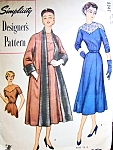 1950s Lovely Party Dinner Dress and Reversible Coat Pattern Simplicity Designers 8347 Figure Flattering Elegance Bust 40 Vintage Sewing Pattern