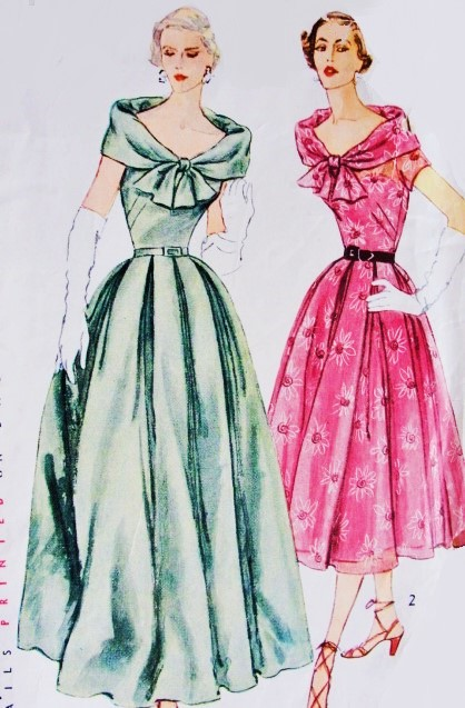 1950s Glamorous Evening Gown Cocktail Dress Pattern Simplicity ...