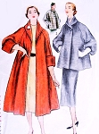 1950s BEAUTIFUL Swing Coat Pattern SIMPLICITY 8449 Full Length or Car Coat Jacket Luxury Deep Cuffs or Balloon Sleeves Bust 32 Vintage Sewing Pattern