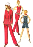 1970s Jumpsuit Rompers and Jacket Pattern Simplicity 9319 Fab Square Neckline Slim Front Zip Jumpsuit  Bust 32.5 Vintage Sewing Pattern FACTORY FOLDED