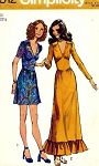 1970s Mini or Maxi Midriff Dress Pattern Deep V Neckline Ruffled Hem Version Simplicity 9812 Vintage Sewing Pattern Bust 34 UNCUT FACTORY FOLDED