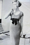 INSTANT PDF 1950s Crocheted Slim Sheath Dress Pattern Low Scoop Neckline Empire Style Vintage Knitting Crochet Pattern