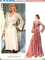 1970s GLAMOROUS Nina Ricci Evening Dress Gown  and Slip Pattern VOGUE PARIS Original 1124 Flattering Surplice Bodice  Regular or Maxi Length Bust 32 Vintage Sewing Pattern UNCUT