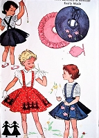 1950s ADORABLE Toddler Girls Circle Skirt, Petticoat, Suspenders Skirt, Ruffled Petticoat Skirt Pattern McCALLS 1817 Includes Transfers Size 2 Easily Made Vintage Sewing Pattern