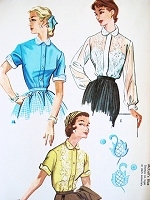 1950s BEAUTIFUL Blouse Pattern McCALLS 2023 Three Styles Includes Embroidery Transfer Perfect For Sheer Fabrics Bust 32 Vintage Sewing Pattern UNCUT