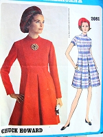 1960s LOVELY Princess Seamed Dress Pattern VOGUE AMERICANA 2081 Designer Chuck Howard Softly Pleated Front and Back Day or After 5 Dress Bust 31 Vintage Sewing Pattern FACTORY FOLDED