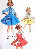 1950s ROCKABILLY Little Girls Skirt Pattern SIMPLICITY 2287 Circle Skirt Pinafore Dress Suspender Skirt Poodle Skirt Childrens Vintage Sewing Pattern +Transfer