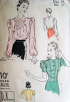 1930s BEAUTIFUL Blouses Pattern DuBarry 2328 Soft PinTucked Blouse or Figure Show Off Overblouse Bust 32 Vintage Sewing Pattern