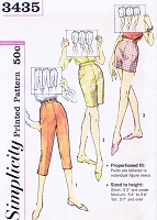 1960s Capri Pants or Pedal Pushers, Jamaica Shorts, Short Shorts Pattern Simplicity 3435 Vintage Sewing Pattern Waist 26