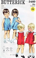 60s CUTE Toddler Brother and Sister Pattern BUTTERICK 3489 Childrens Quick n Easy Easy Jumper, Blouse, Rompers Toddlers Size 1 Vintage Sewing Pattern