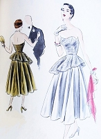 1950s STUNNING Strapless Party Cocktail Evening Dress Pattern VOGUE Special Design 4103 Full Circular Skirt Striking Sweetheart Neck Shaped Tunic Bust 34 Vintage Fifties Sewing Pattern Factory Folded