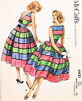 1950s BEAUTIFUL McCalls Pattern 4431 Party Cocktail Dress Bateau Boat Neckline Deep V Back Full Skirt Totally Beautiful Design Bust 34 Vintage Sewing Pattern UNCUT