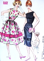 1950s LOVELY Slim or Full Skirt Dress Pattern McCALLS 4959 Bateau Neckline V Back Day or Evening Party Dress Easy To Make Bust 34 Vintage Sewing Pattern