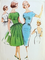 1960s Cocktail Party Midriff Dress Pattern McCALLS 5772 Slim or Full Skirted Low Back Evening Dress Bust 36 Vintage Sewing Pattern