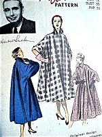 1950s GLAMOROUS Herbert Sondheim Luxurious Coat Pattern ADVANCE American Designer 5810 Full Flowing Swing Coat in 3 Versions Day or Evening Wear Bust 30 Vintage Sewing Pattern