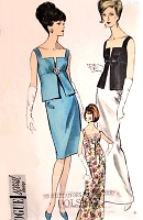 1960s STUNNING 2 Pc Cocktail or Evening Length Dress Pattern VOGUE Special Design 6200 Pure Elegance For Special Occasions Bust 34 Vintage Sewing Pattern
