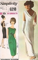 1960s STUNNING Empire Evening Dress Pattern SIMPLICITY Designer 6218 Lovely Draped Cowl Back Classy PIPPA MIDDLETON Bust 34 Vintage Sewing Pattern