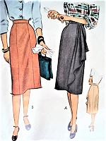 1940s CLASSY Slim Skirt Pattern McCALL 6667 Day or Evening Two Styles Slim or Slim with side Cascade Drape Waist 28 Vintage Sewing Pattern