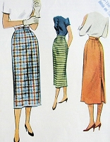 1950s CLASSY Slim Pencil skirt Pattern McCALL 8258 Waist Size 26 Vintage Sewing Pattern
