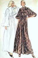 70s FAB Evening Dress  and PantDress Pattern VOGUE 8466 Maxi Hostess Gown Gorgeous Full Dolman Sleeves Vintage Sewing Pattern