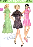1960s MOD Day or Maxi Evening Party Prom Dress and Slip Pattern SIMPLICITY 8489 Perfect For Lace Fabrics, 3 Lovely Styles, Mini or Maxi Lengths Bust 32 Vintage Sewing Pattern UNCUT
