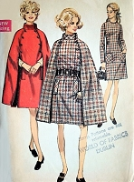 1960s MOD Cape Coat and Slim Dress Pattern SIMPLICITY 8504 Elegant  Cape With Stand Up Collar Bust 36 Vintage Sewing Pattern