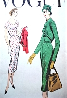 1950s STUNNING Slim Cocktail Dress and Jacket Pattern VOGUE 9031 Flattering V neckline Beautiful Shortie Bolero Jacket Bust 36 Vintage Sewing Pattern
