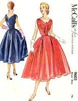 1950s BEAUTIFUL Evening Cocktail Party Dress Pattern McCALLS 9603 Flattering Draped Bodice V Back Full Skirt Party Dress Bust 36 Vintage Sewing Pattern FACTORY FOLDED