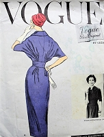 1950s CLASSY  Slim Skirt Dress Day or After 5 Cocktail Party Pattern VOGUE Paris Original 1351Featuring Gres Beautiful Draped Bodice Bust 32 Vintage Sewing Pattern + LABEL