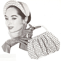 INSTANT PDF PATTERN Vintage 1950s Crochet Pattern Lovely Crocheted Vintage Hat, Purse, Bag Mid Century Style