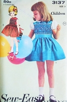 1960s CUTE Little Girls Smocked Dress Pattern Sew Easy ADVANCE 3137 Child's Toddlers Dress With Smocked Bodice Includes Smocking Transfer Size 3 Vintage Sewing Pattern UNCUT
