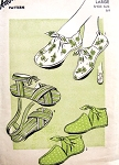 1940s UNIQUE Foot Wear Pattern ADVANCE 3808 Strappy Sandals,Bootie Slippers, Saddle Bootie Indoors or Out Shoe Size Large 8-9  FACTORY FOLDED