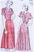 1940s BEAUTIFUL Dress Pattern ADVANCE 4847 Two Styles Lovely Cape Collar Version Bust 34 Vintage Sewing Pattern