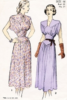 1940s BEAUTIFUL Day or Cocktail Party Dress Pattern ADVANCE 4914 Lovely Midriff Dress Draped Sleeves Bust 34 Vintage Forties Sewing Pattern