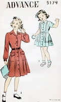 1940s CUTE Little Girls Dress Pattern ADVANCE 5179 Front Button Toddlers Dress Size 4 Childrens Vintage Sewing Pattern