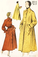 1940s LOVELY Flare Back Coat Pattern ADVANCE 5302 Loose or Belted Chic Details Bust 34 Vintage Sewing Pattern