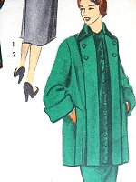 1950s STYLISH Coat and Slim Skirt Pattern ADVANCE 5621 Two Style Versions For Walking Car Coat, Slim Back Button Skirt Bust 34 Vintage Suit Sewing Pattern