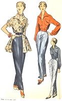 1950s STUNNING Evening High Waist Slim Pants, Tunic Blouse and Bomber Jacket Pattern ADVANCE 5636 Chic Evening or Lounging Casual Bust 34 Vintage Sewing Pattern UNCUT