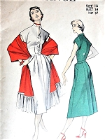 1950s STYLISH Dress and Stole Pattern ADVANCE 5757 Lovely Style Day or Dinner Dress Bust 34 Vintage Sewing Pattern